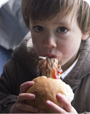 small lad eating a hog roast roll